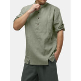Mens 100% Cotton Retro Plain Color Half Sleeve Half Open Henley T-Shirts