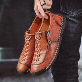 Menico Men Hand Stitching Woven Detail Comfy Non Slip Casual Flats