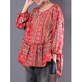 Ethnic Women Cotton Linen Floral Blouse