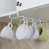 8 Hooks Cup Holder Hang Kitchen Cabinet Under Shelf Storage Rack Organizer Hook - White