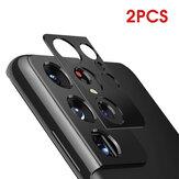 Bakeey 2PCS dla Samsung Galaxy S21 Ultra Film do aparatu Czarny telefon odporny na zadrapania Metalowy pierścień osłona obiektywu