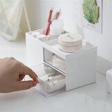 Masaüstü Depolama Kutu Kalem 2 Çekmeceli Tutucu Kırtasiye Kozmetik Makyaj Fırçalar Tutucu Çeşitli Eşyalar Düzenleyici Ofis Ev Okul Malzemeleri