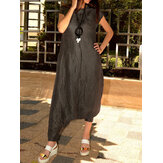 Women Short Sleeve O-neck Solid Color Harem Jumpsuit Overalls