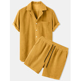 Mens Thin Corduroy Mustard Set Patch Pocket Respirável de manga curta Camisa & Shorts