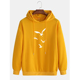 Cotton Mens Casual Bird Printed Dropped Shoulder Drawstring Long Sleeve Hoodies