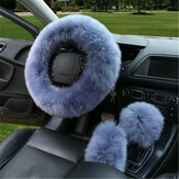 3Pcs Winter Furry Car Steering Wheel + Gear Knob Shifter Parking Brake Covers Set