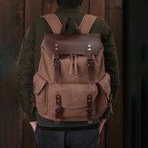 Men Oil Wax Canvas Casual Wodoodporny plecak z wieloma kieszeniami Duża pojemność 15,6-calowa torba na laptopa Torba na ramię