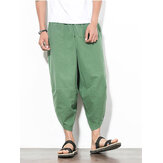 Erkek Yaz Gevşek Turp Pantolon Nefes Haren Geniş Bacak Pantolon Rahat Buzağı Uzunlukta Pantolon