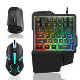Conjunto de adaptador de teclado e mouse e bluetooth com fio Mecânico de uma mão e 39 teclas de teclado luminoso para jogos 2000DPI Mouse USB Hub para PUBG