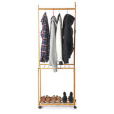 Qinxing Multifunctional Portable Coat Rack Bamboo Frame Shoe Shelf Corrosion Resisting Movable Floor Stand