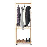 Qinxing多機能ポータブルコートラック竹フレーム靴棚耐食性可動床スタンド