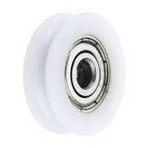 5x24x7mm U Notch Nylon Round Pulley Wheel Roller For 3.8mm Rope Ball Bearing