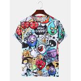 Cute Cartoon Print Casual Round Cuello Camisetas de manga corta