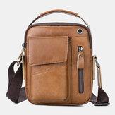 Men Genuine Leather Multi-pocket Headphone Hole Vintage 6.5 Inch Phone Bag Crossbody Bag Shoulder Bag Messenger Briefcase