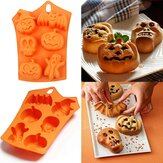 6 Grids Pumpkin Bat Skull Ghost Shape Silicone Mold Candy Chocolate Mold for Halloween Party Decoration