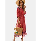 Bohemian Floral Print Long Sleeves Summer Maxi Dress