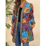 Women Tribal Print Coloblock Mid-Length Ethnic Style Open Front Jacket With Pocket