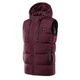 Unisexe USB chauffage électrique chauffant hiver veste chaude manteau à capuche vêtements M-7XL