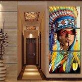Triptych Modern Decorative Inkjet Indian Head Pintura Decorativa Cópias De Lona Pintura Para Home Art Decor Wall Picture
