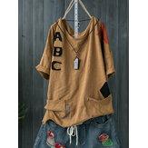T-shirt ocasionais do pescoço de grupo do algodão das mulheres com bolsos