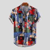 Mens Summer Ethnic Шаблон Повседневные рубашки с розовым принтом