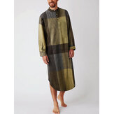 Mens Cotton Plaid Print Henley Shirts Home Sleepwear Long Sleeve Robes With Pocket