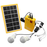 Solar Power Panel Generator Kit 5V USB-oplader Home-systeem met 3 LED-lampen Licht