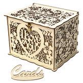 DIY Boda Tarjeta de regalo Caja Dinero de madera Caja con cerradura Hermosos suministros de decoración para fiesta de cumpleaños