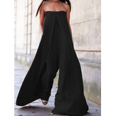Casual Solid Tube Loose Wide Leg Maxi Jumpsuits