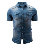 Herren Sommer Kurzarm Casual Fashion Fit Jeanshemden