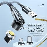 Essager 540 Draaiende Magnetische Datakabel 3A USB Type-C Snelle Oplaadlijn Voor OnePlus 8Pro 8T Huawei P30 P40 Mate 40 Pro