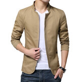 Slim Fit Berdiri Collar Zipper Spring Autumn Cotton Jacket untuk