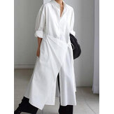 Women Cotton Plain Button Down Front Irregular Tie Rope Shirt Dress