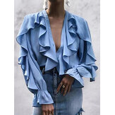 Long Sleeve V-neck Smocked Ruffle Stitching Button Causal Blouse For Women