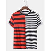 Camisetas informales de manga corta con estampado de rayas y manga corta
