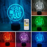 3D Colorful Night lampada Lampada da illuminazione Religioso Islam Allah Acrilico Home Desk Decorations