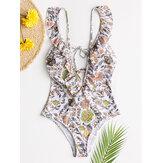 Women Design Floral Print String Ruffles Straps One Piece Backless Swimwear