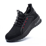 Men's Work Shoes Steel Toe Safety Anti-Smash Running Shoes Jogging Sneakers