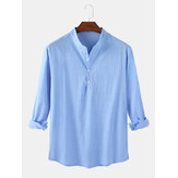 Mens Solid Color Cotton Linen Casual Long Sleeve Split Hem Henley Shirts