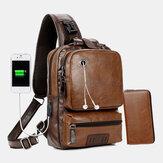 Masculino PU Couro Vintage Multifuncional Orifício para Carregamento USB Crossbody Bolsa Peito Bolsa Sling Bolsa