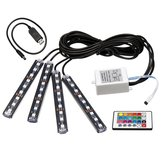 4Pcs Car Interior LED Floor Strobe Lights Decor Atmosphere Lamp USB Wireless Remote Control RGB