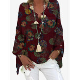Kadın Vintage Çiçek Desenli V Yaka Salaş Bluzlar