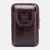 Bullcaptain Genuine Leather Vintage Phone Bag Waist Bag