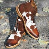 Hommes Cow Spot Imprimé Cap Toe Comfy Ankle Jack Bottes