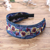Vintage Embroidery Ethnic Style Flower Woven Headband Fashion Sequin Embroidery Wide Brimmed Headband