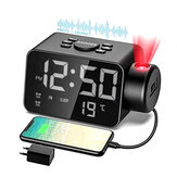LED Projection Alarm Clock USB Rechargeable FM Radio Snooze Mode Electronic Alarm Clock Time Temperature Display Clock