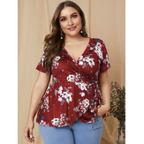 Plus Size Tie-up Design Blusa elegante de manga curta com estampa floral