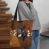 女性はかわいい3D三次元黒猫デイジーパターンショルダーバッグハンドバッグトートを感じました