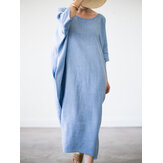 Casual Loose O-neck Side Pocket Baggy Maxi Dress