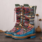 SOCOFY Embossed Splicing Colorful Woollen Round Toe Lace Up Zipper Flat Tall Boots